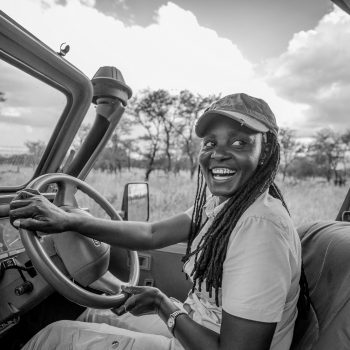 Zawadi takes guests out on a game drive